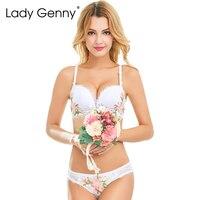 LADY GENNY 2017 Bra Set Underwear Sets lingerie bra brief set White push up bra Lace sexy woman bra & brief sets Bralette