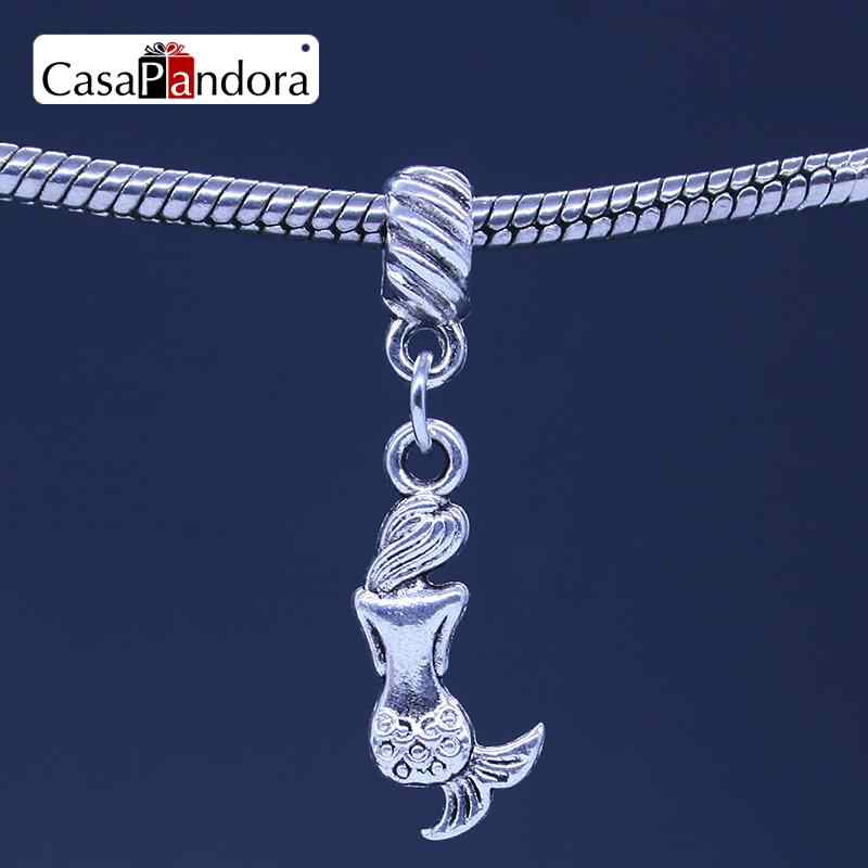 CasaPandora Silver-colored Mermaid Shape Pendant Fit Bracelet Charm DIY Bead Jewelry Making Pingente Berloque
