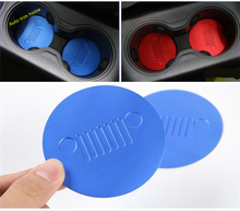 Lapetus Center Seat Water Cup Holder Mat Pad Cover Trim 2 Pcs Colorfully Fit For Jeep Renegade 2015 2016 2017 2018 2019 / Metal