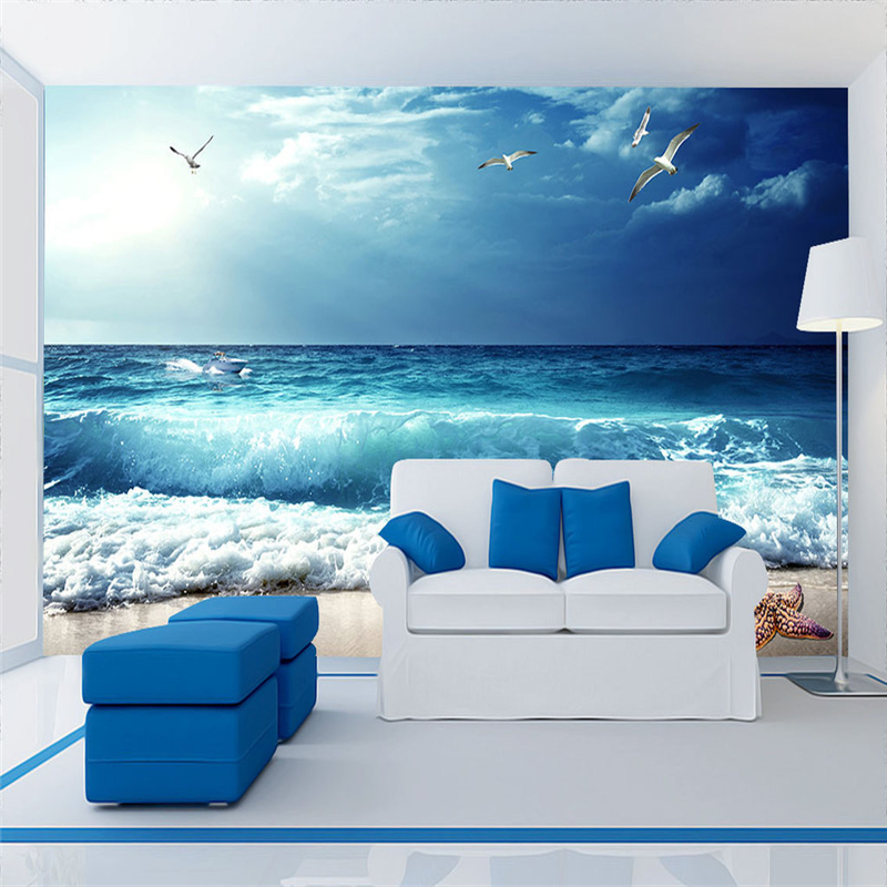 Custom Wallpaper Murals Free Desktop Wallpaper Embossed Wallpaper Coast Beauty Seaside Scenery 3d Wallpaper for Bedroom Wall Art seaside scenery skidproof crystal velvet fabric rug