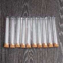 """""""100 unids/lote tubo de ensayo de plástico transparente con tapones de corcho fondo redondo 15x100mm laboratorio escolar suministros educativos"""""""
