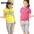 The new 2017 Korean version of the summer girls sports suits children's short-sleeved + children's pants two-piece