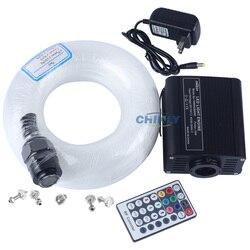16 w RGBW LED fibra óptica estrella luz techo Kit luces mezcladas 335 hilos 4 m (1,5mm + 1,0mm + 0,75mm + cristal) con 28 teclas RF remoto