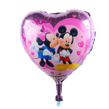 Valentine's Day wedding balloon wholesale 18-inch aluminum foil heart, I love you five Minnie Mickey(China)