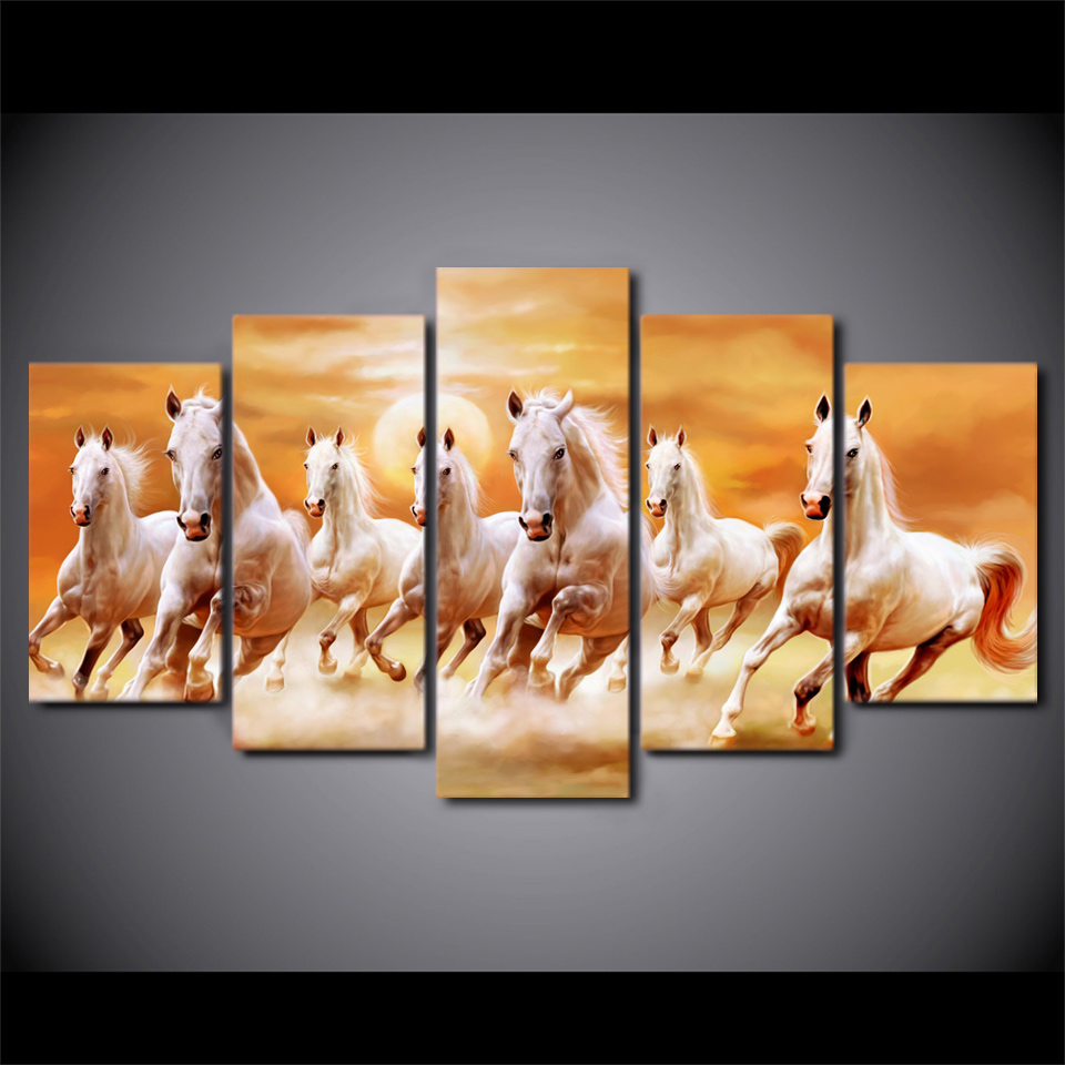 5 Piece HD Printed Sunset White Horses Running Framed Wall Picture Art Poster Painting On Canvas For Living Room Decoration