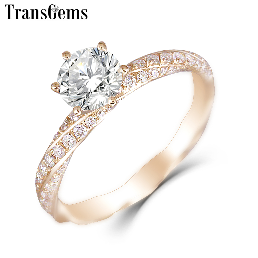 Transgems 14K Rose Gold 1ct 6 5mm F Color Moissanite Engagement Ring for Women Wedding Pink Gold Ladies Ring with Moissanite in Rings from Jewelry Accessories