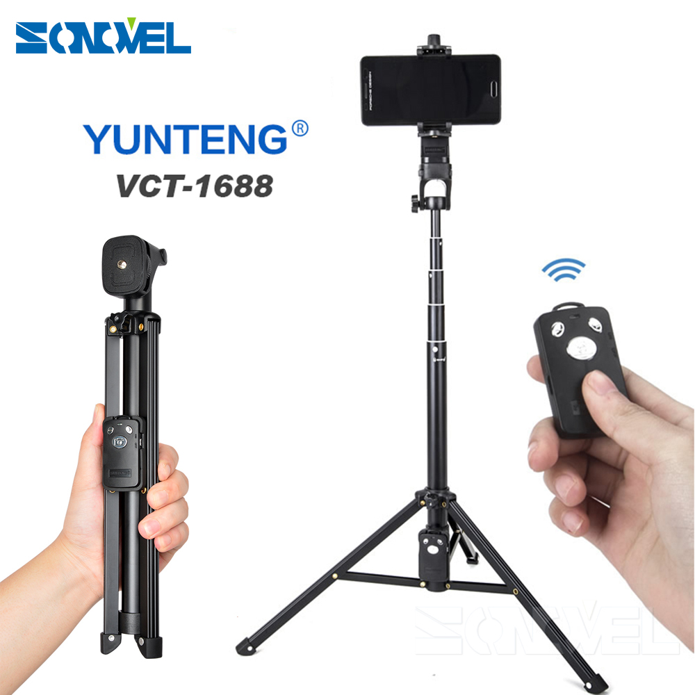 YUNTENG 1688 3in1 Bluetooth Remote Shutter Handle Selfie Stick Mini Table Tripod For IOS Android Iphone Samsung Smartphone Gopro ...