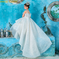 2019 роскошное платье с цветочным узором для девочек на свадьбу, с перьями и блестками, бальное платье для конкурса красоты, вечерние платья д