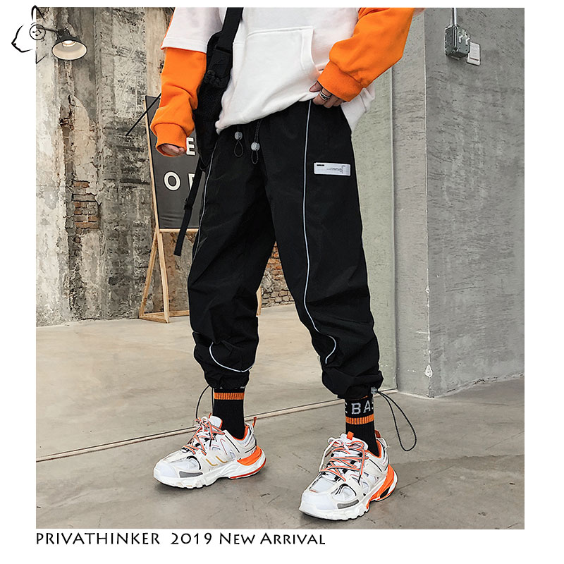 Privathinker Man New Hip Hop 2019 Casual Joggers Streetwear Mens Army Fitness Pants Male Summer Reflective Stripe Pants Oversize