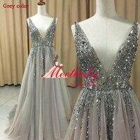 New v neck grey sparkly vestido de festa open back evening gowns 2017 elegant sexy see.jpg 200x200