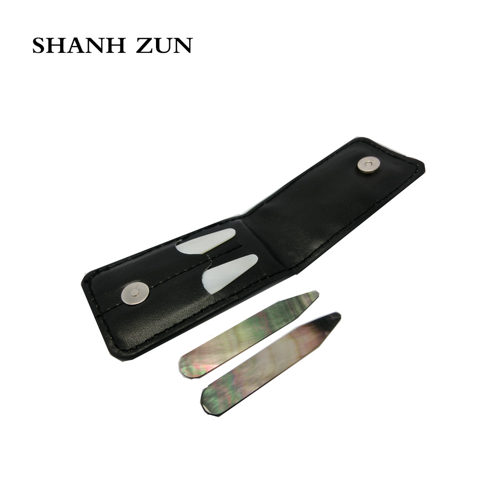 SHANH ZUN High Polish Pure Mother Of Pearl Shell Collar Stays In Black PU Wallet Wedding Gift For Men 2.37