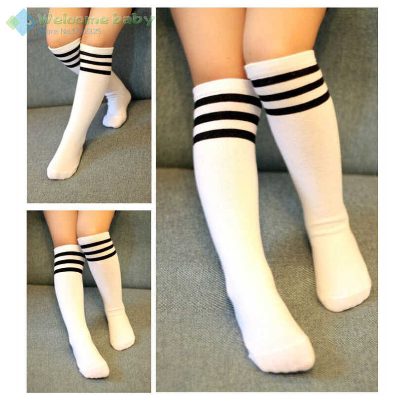 25d15d33245 Toddlers Kids Baby Girl Knee High Socks Cotton Tights Black White Striped  Stockings legs for Girls