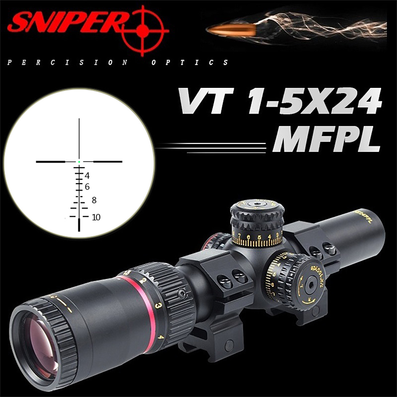 SNIPER NT 1-5X24 Hunting Riflescope Tactical Optical Sight Full Size Mil-Dot Equipment RG Wire Reticle For Rifle Scope Airsoft