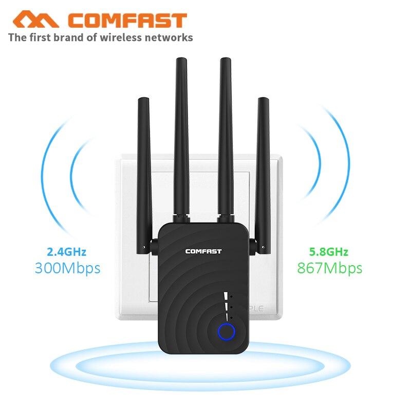 Comfast CF-WR754AC wifi repetidor 5 ghz longo extensão de alcance wi fi impulsionador 1200 mbps casa sem fio n roteador 4 * 2dbi antena amplificador