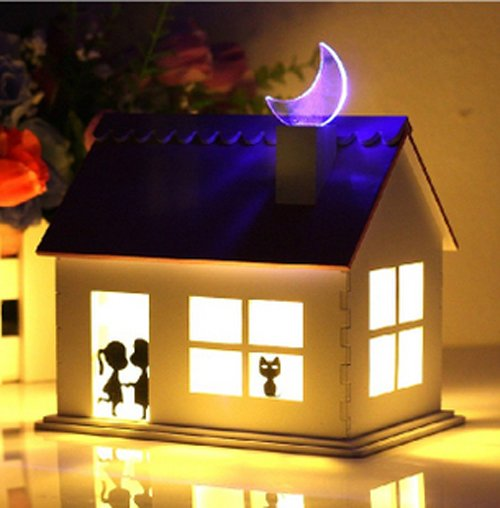 2012 Creative Gifts Led Solar Night Lamp Lights House Wooden Home Decoration Wholesale In Night