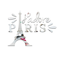 Funlife Living Room Bedroom Decoration Environmental Background Wall Stickers Paris Eiffel Tower Mirror Wall Stickers MS361405