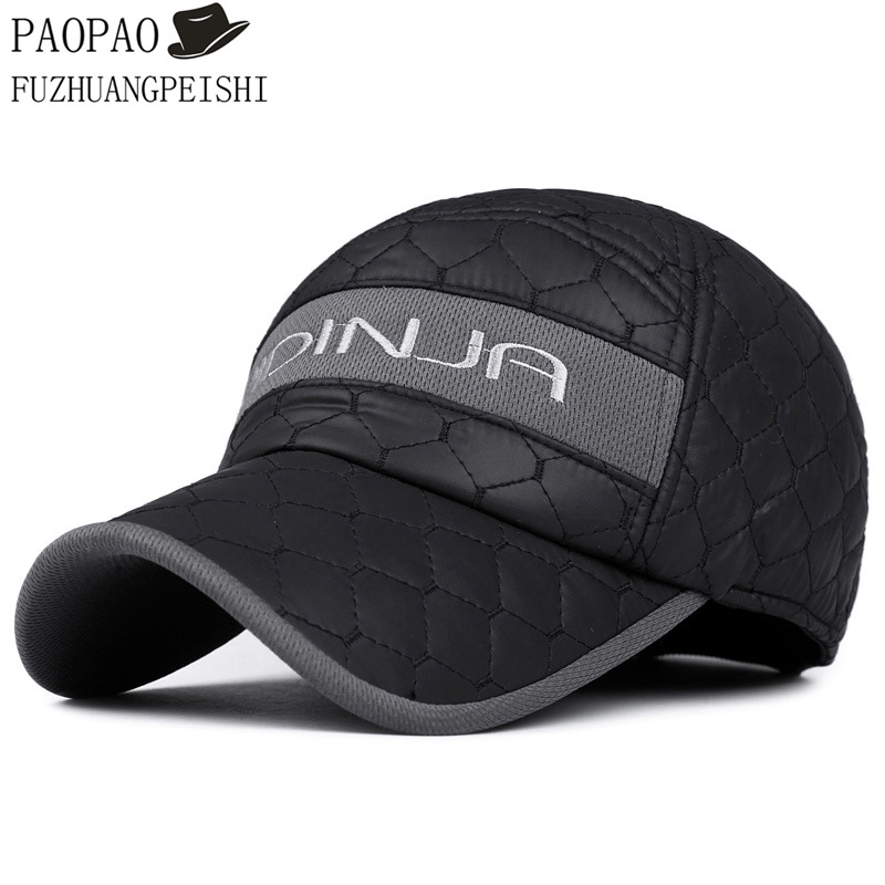 leather baseball cap with ear flaps fleece wool hat winter dad warm cotton thickening protection fitted hats font
