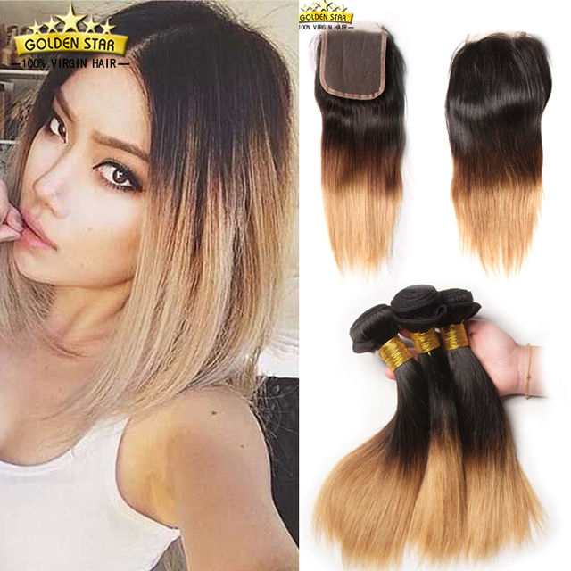 Ombre Brazilian Virgin Hair With Closure Straight Human Hair Weave 3