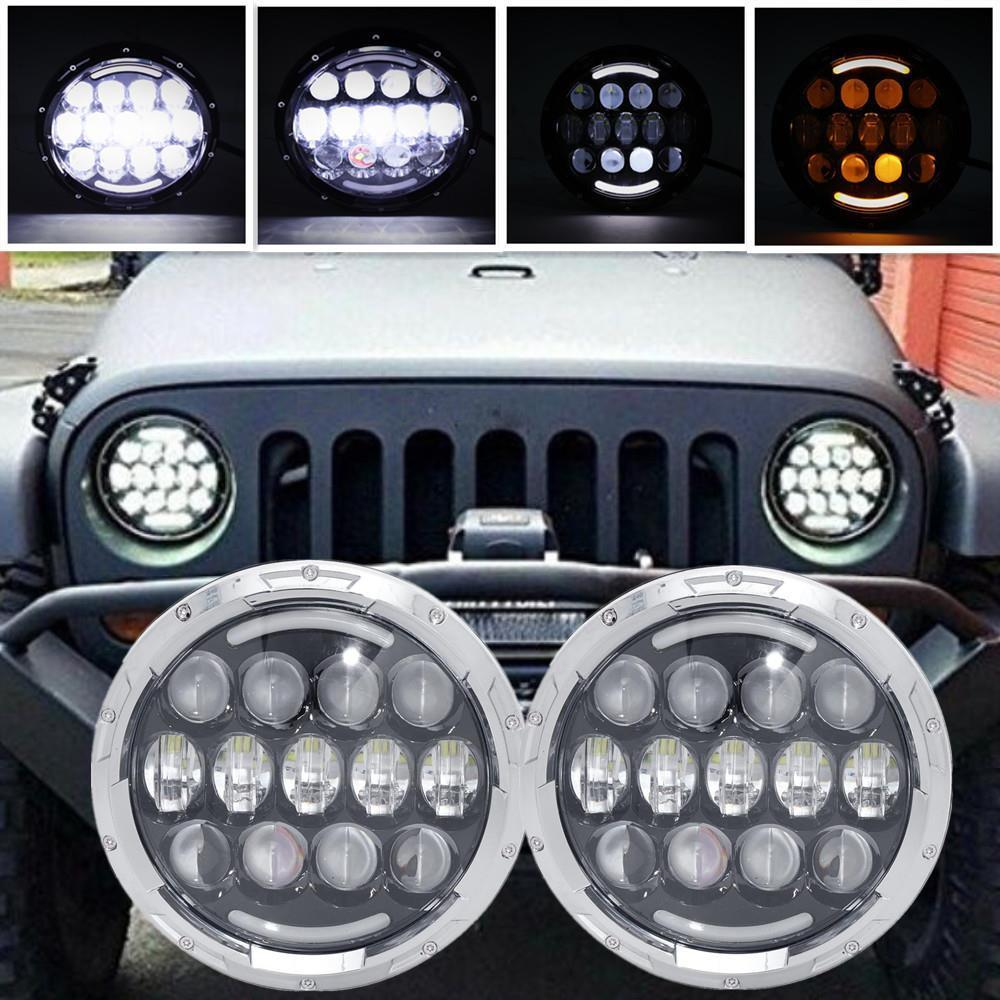 105W 7 inch Car Led Headlight Lada 4x4 Off road Led H4 Hi/Lo Beam led Auto Headlight Kit for Jeep Wrangler JK CJ Motorcycle h4 plug 7 inch headlamp offroad 7 led headlight driving for jk wrangler defender 4x4 off road lada niva 4x4 suzuki samurai