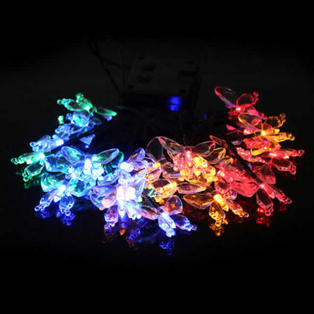 wedding decoration 30pc led lights party glow lights supplies butterfly solar christmas decoration light lamp garland