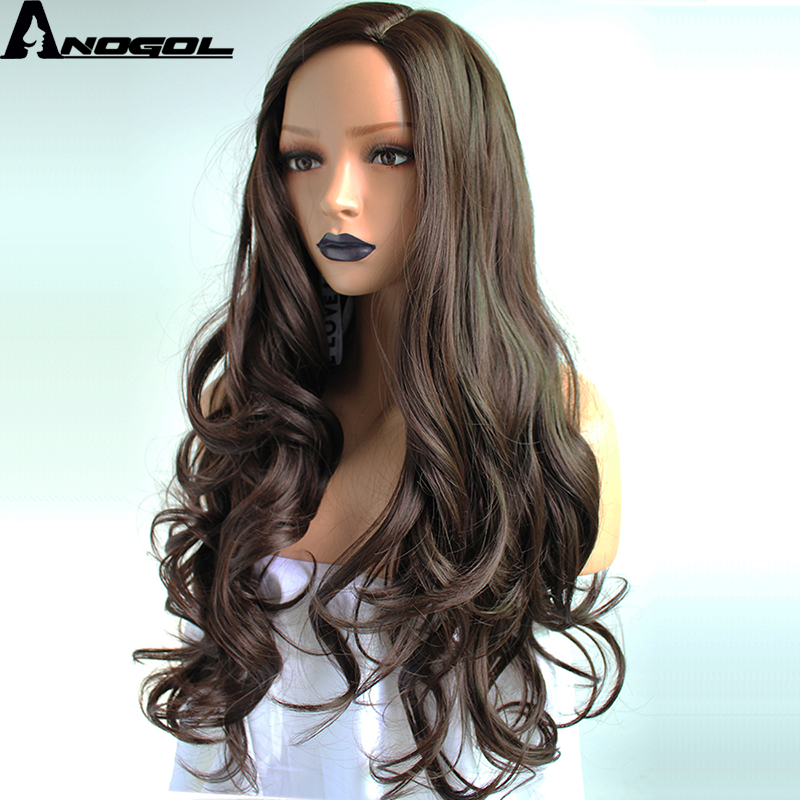 Anogol High Temperature Fiber Perruque Deep Peruca Long Body Wave Full Hair Wigs # 2 Dark Brown Synthetic Wig For Women Costume