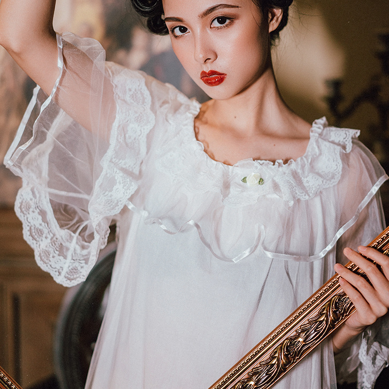 Autumn Long Nightdress Homewear Woman Sleepwear Female Home Cloth Princess Grace Arab Lady Fairy White Brand Wholesale New hot
