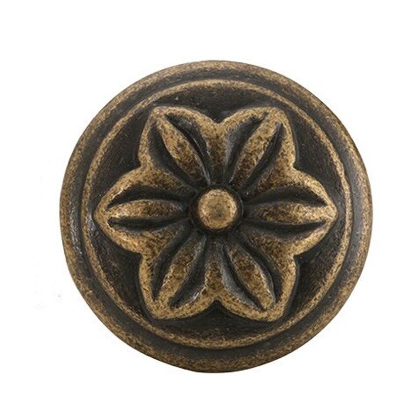 32mm Retro creative leaves furniture knobs vintage bronze drawer shoe cabinet knobs pulls antique brass dresser cupboard handles