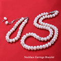 real natural freshwater pearl necklace set 8-9mm/9-10mm flat three suit Bracelet Necklace Earrings Gift for mother's Day