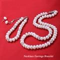 Verdadera perla natural de agua dulce conjunto de collar 8-9mm/9-10mm plana traje de tres Collar de la Pulsera pendientes de Regalo para el Día de la madre