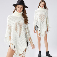 Women White Bat Sleeve Ponchos And Capes Tassel Turtleneck Knit Sweater Women Sweaters And Pullovers