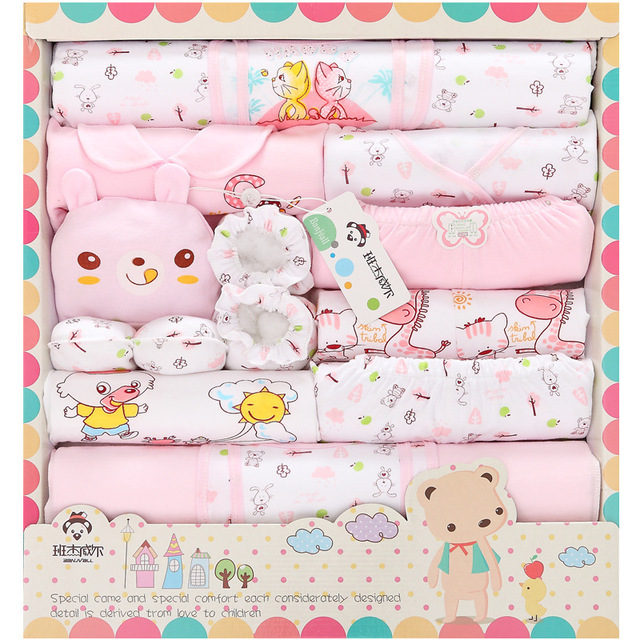 18pcs/set 100% cotton newborn baby clothing gift sets infants cute cartoon suit Spring Summer baby girls boys clothes tracksuit