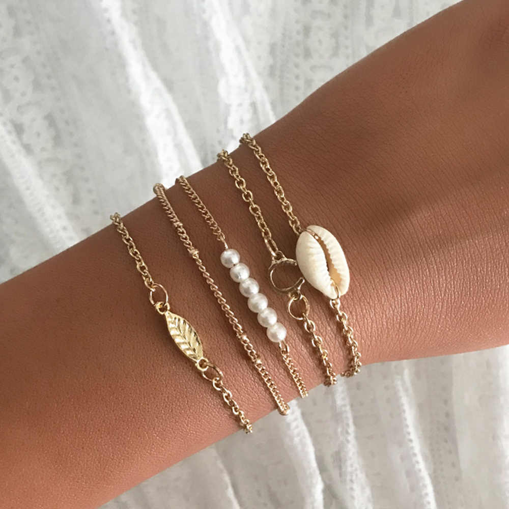 5 Pcs Warna Emas Cowrie Shell Gelang untuk Wanita Lembut Tali Rantai Gelang Manik-manik Gelang Bohemian Pantai Perhiasan