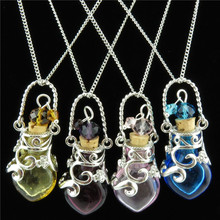 Free shipping 20271-74 Cords Cork Glass  Heart Perfume Essential Oils Bottle Vial Necklace 18″