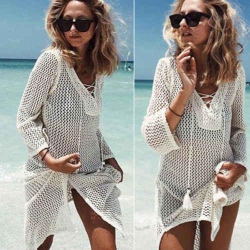 Новинка, женское популярное пляжное платье, Бандажное бикини, сплошной цвет, купальный костюм с длинным рукавом, бандажный купальник, прозрачная накидка
