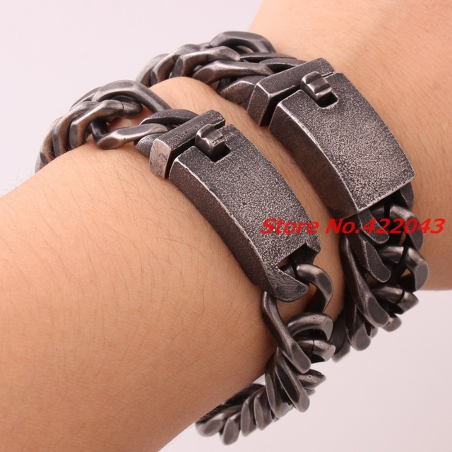 "8.46"" New Brushed Cool 316L Stainless Steel Black Curb Cuban Chain Men's Boys 13/16mm Chose Bracelet Bangle Jewelry High Quality"