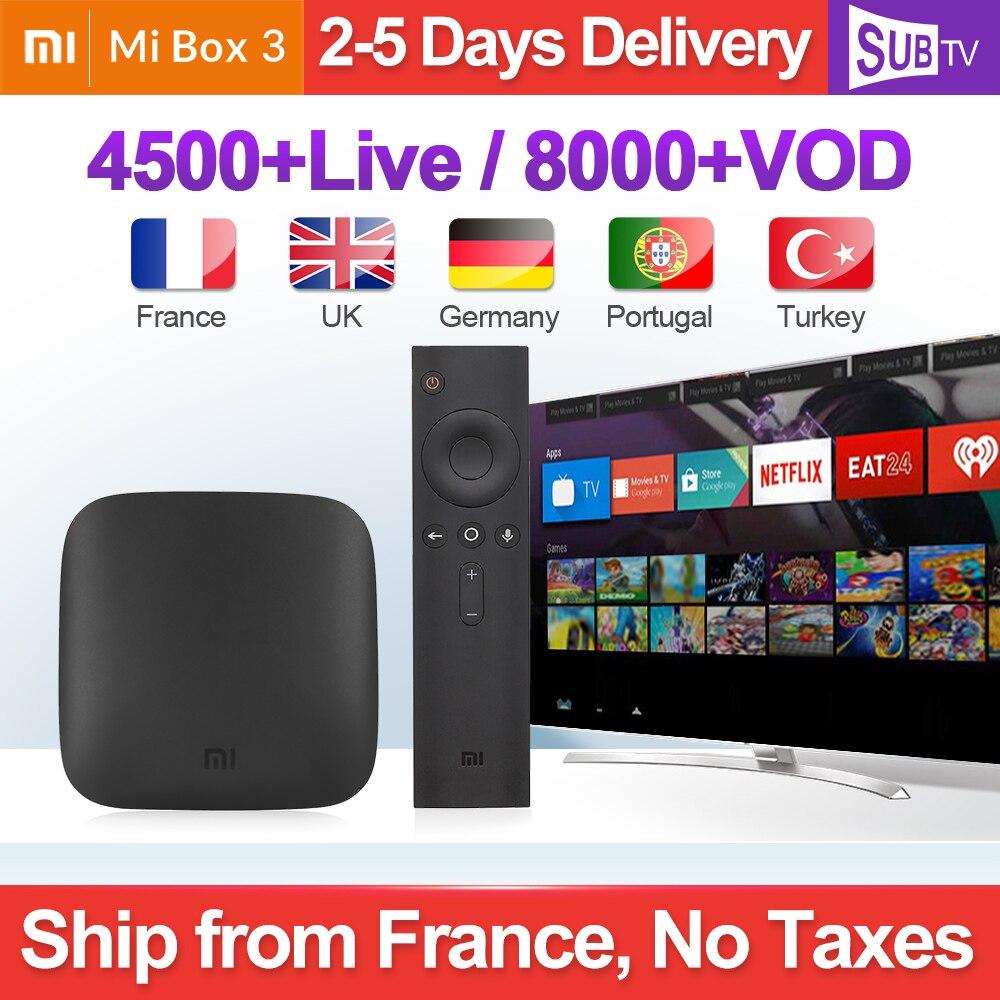 Arábica IPTV France Xiao mi mi Caixa 3 Ano Assinatura IPTV Caixa de Tv Android SUBTV 1 2 GB 8 GB francês árabe IPTV Itália Portugal IP TV