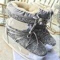 New 2017 lua Branco Ankle Boots Para Mulheres senhoras Sexy Botas Sapatos de Inverno Botas de Plataforma de Metal Decoração Da Moda