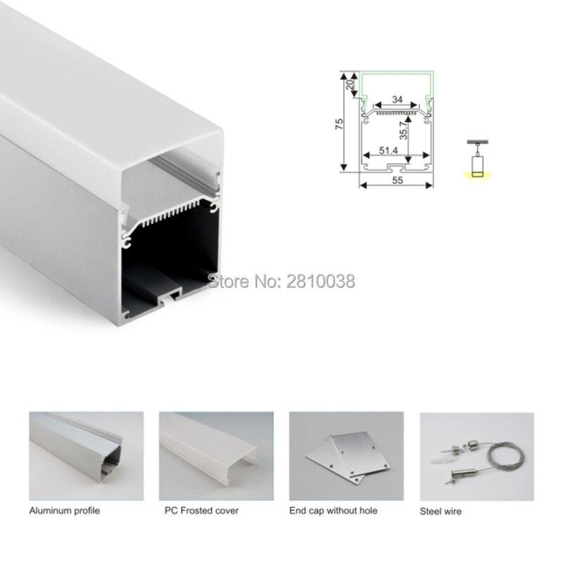 50X1 M ensembles/Lot U style profilé en aluminium pour led bande lumineuse et 6000 série aluminium led profil pour pendentif éclairage