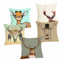 Deer Cushion Case Decorative Cover 45x45CM Cotton Linen Square Throw Pillow