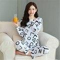 Envío Gratis Primavera y Otoño Pijama de Manga Larga de Corazón Encantador Pijamas M-xxl ropa de Dormir ropa de Hogar de Seda de la Leche ropa
