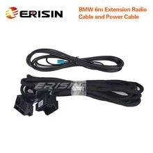 Erisin LMBM6-N para bmw carro de nossa marca com azul & branco 12 pinos conectores precisa desta extensão 6m power & cabo de rádio