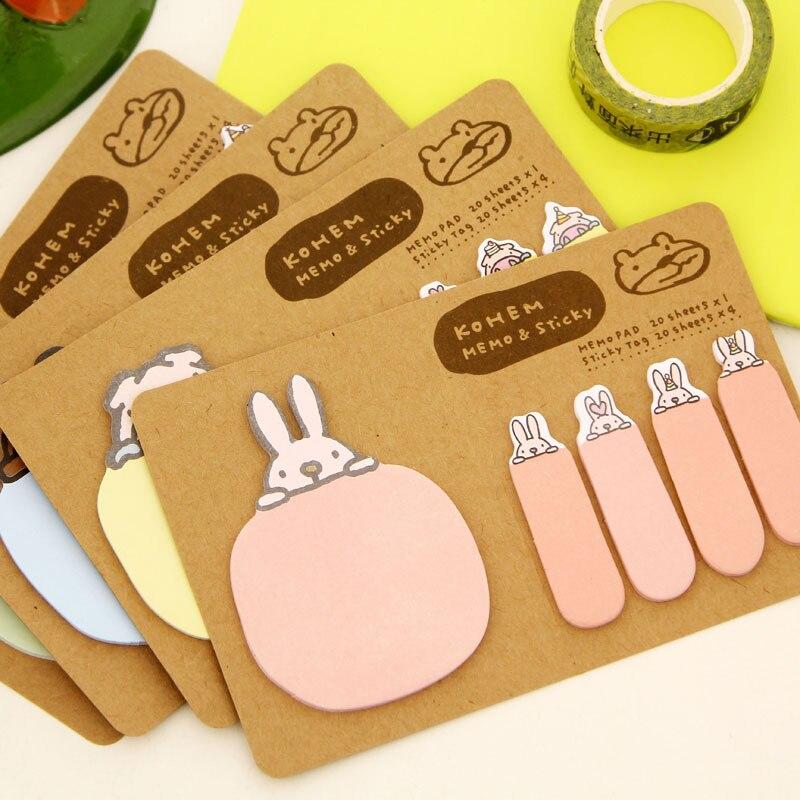 RUCHKA 10PCS /LOT South Korea creative stationery cute cartoon prone animal kraft paper Post notes note book memo pad