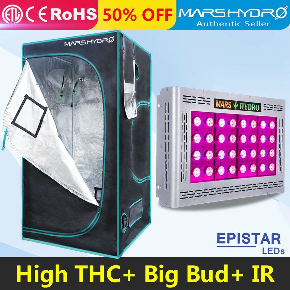 Mars Pro II Epistar 800 W LED Full spectrum hydroponique Élèvent La Lumière et 100x100x180 cm grandir tente jardin culture sous serre lampe