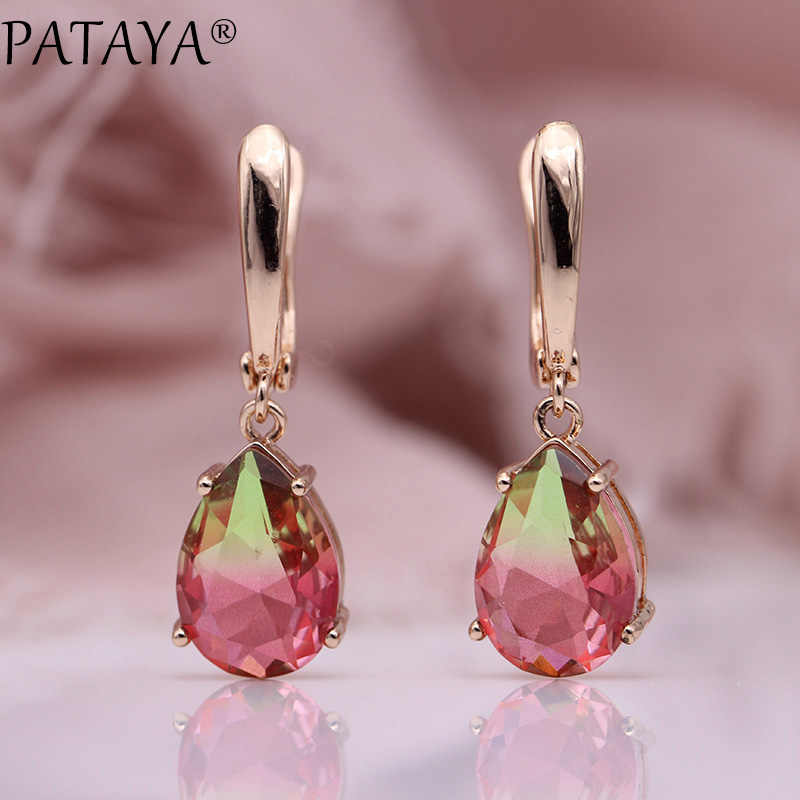 PATAYA New Water Drop Tourmaline Color Earrings Women Cute Wedding Party Fine Jewelry 585 Rose Gold Natural CZ Dangle Earrings