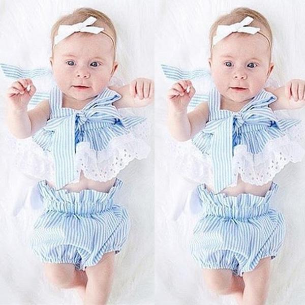 0-24 M Newborn Baby Girl Taśmy Lace Crop Top + Bowknot Malucha Dolne Szorty 2 SZTUK Outfit Sunsuit dzieci Odzież Ustaw 2