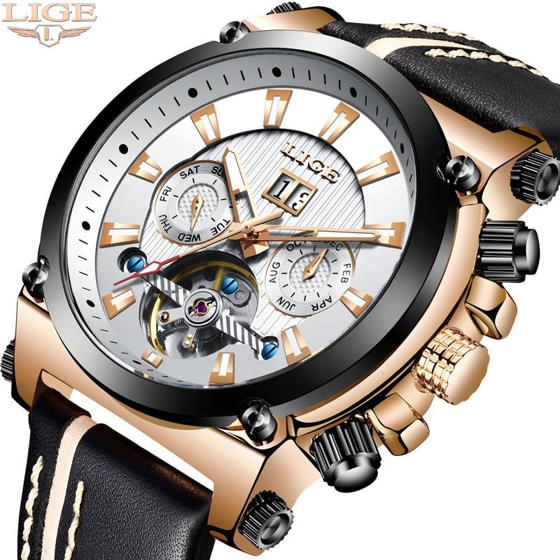 LIGE hommes montre Top marque de luxe automatique montres mécaniques en cuir étanche grand cadran Sport montre hommes armée militaire horloge