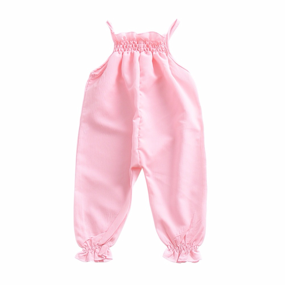 2018 Baby Casual Cotton Sleeveless Cute Kids Baby Girls Infant Solid Floral Halter Sling Romper Cotton Clothes Outfits 2017 cute floral infant baby girls summer flower romper sunsuit headband cotton outfits set clothes