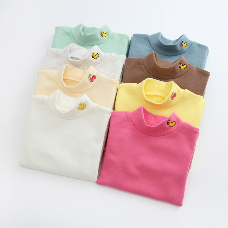 kids girl Tshirts blouses cotton spring autumn winter childrens girl long sleeved baby child candy colour bottoming top tee