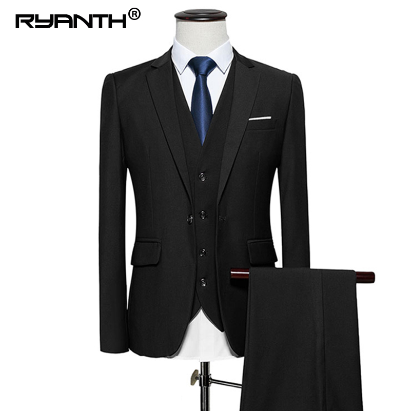 Ryanth Wedding Suits For Men Men Suits 2018 3 piece Formal Single Breasted Mens Pants ...