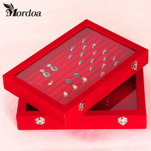 Necklace Ring Jewelry Red Box Glass Cover Storage Box Stud Earring Wheel Stud Earring Jewelry Holder